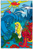 Cartoon mermaid in magical scene Stock Photos