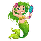Cartoon mermaid with mirror Stock Images