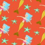 Cartoon mermaid princess coral red seamless pattern. Royalty Free Stock Photo