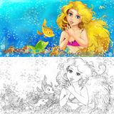 Cartoon mermaid in the sea - with coloring page Royalty Free Stock Photos