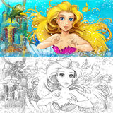 Cartoon mermaid in the sea - with coloring page Stock Images
