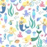 Cartoon mermaid seamless pattern on transparent background. Vector illustration Royalty Free Stock Photo