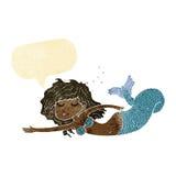 Cartoon mermaid with speech bubble Stock Photos