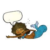 Cartoon mermaid with speech bubble Royalty Free Stock Photo
