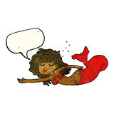 Cartoon mermaid with speech bubble Royalty Free Stock Images
