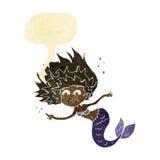 Cartoon mermaid with speech bubble Stock Image