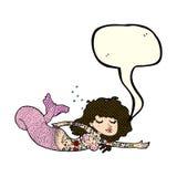 Cartoon mermaid with tattoos with speech bubble Stock Image