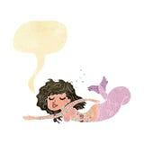 Cartoon mermaid with tattoos with speech bubble Royalty Free Stock Photo