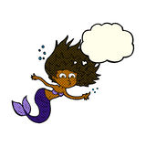Cartoon mermaid with thought bubble Royalty Free Stock Photos