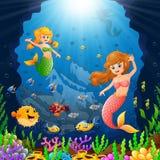Cartoon mermaid under the sea Royalty Free Stock Photo
