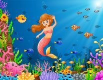 Cartoon mermaid underwater. Illustration of Cartoon mermaid underwater Royalty Free Stock Images