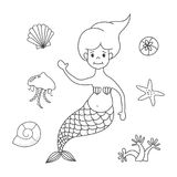 Cartoon mermaid on white background. stock illustration