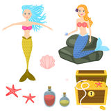 Cartoon mermaids and treasure dower chest clip art vector graphics for game. Isolated sea life objects - treasure dower chest, shell, starfish, rocks Royalty Free Stock Images