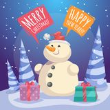 Cartoon Merry Christmas and Happy New Year poster. Smiling snowman in Santa hat with gift boxes in forest. Speech bubbles with sign Royalty Free Stock Images
