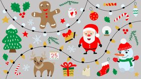 Cartoon Merry Christmas and Happy New Year symbols isolated. royalty free illustration
