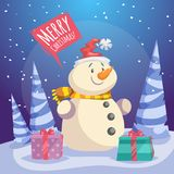 Cartoon Merry Christmas poster. Smiling snowman in Santa hat with gift boxes in forest. Speech bubbles with sign Royalty Free Stock Image