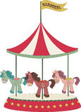 Cartoon merry-go-round. Cartoon isolated merry-go-round with colorful ponies Stock Image