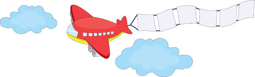 Cartoon message plane Royalty Free Stock Images