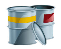 Cartoon metal barrels one opened another closed - isolated Stock Images