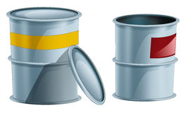 Cartoon metal barrels one opened another closed - isolated royalty free illustration