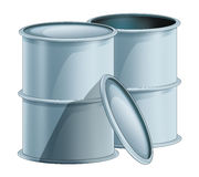Cartoon metal barrels opened and closed -  Stock Images
