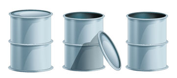 Cartoon metal barrels opened and closed -  Royalty Free Stock Image