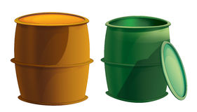 Cartoon metal barrels opened and closed -  Stock Photography