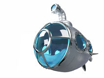 Cartoon metallic submarine Royalty Free Stock Photos