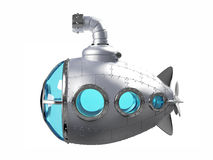 Cartoon metallic submarine side. View isolated on white. 3d illustration royalty free illustration