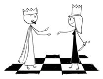 Cartoon Metaphor of Chess White King Welcoming Black Queen With Hidden Knife. Cartoon stick figure drawing conceptual illustration of white chess king is warmly vector illustration
