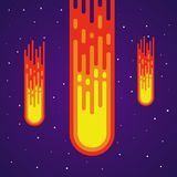 Cartoon meteor rain. Comets falling down. Heavenly body. Vector meteorite. Shooting stars in space. Vector illustration on colorful background Royalty Free Stock Image