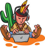 Cartoon mexican character with laptop computer Stock Images