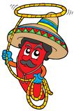 Cartoon Mexican chilli with lasso royalty free illustration