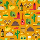 Cartoon Mexican Culture Background Pattern. Vector Royalty Free Stock Photos