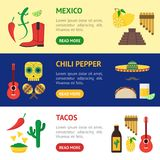Cartoon Mexican Culture Banner Horizontal Set. Vector. Cartoon Mexican Culture Banner Horizontal Set Concept Travel and Tourism Flat Style Design. Vector Stock Images