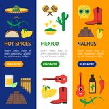 Cartoon Mexican Culture Color Banner Vecrtical Set Vector. Cartoon Mexican Culture Color Banner Vecrtical Set Concept Travel and Tourism Flat Style Design Stock Photography