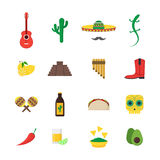 Cartoon Mexican Culture Color Icons Set. Vector Stock Images