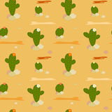 Cartoon mexican desert with cactus seamless pattern illustration Royalty Free Stock Images