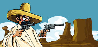 Cartoon Mexican in the desert with guns Royalty Free Stock Photography