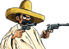 Cartoon Mexican with guns. Isolated on white Stock Photo