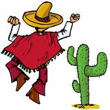 Cartoon Mexican islolated one white Stock Photography