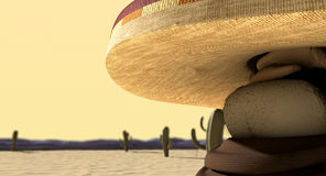 Cartoon Mexican In Mexican Standoff Desert Royalty Free Stock Images