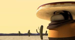 Cartoon Mexican In Mexican Standoff Desert Stock Photos