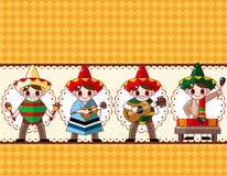 Cartoon Mexican music band ,board card Royalty Free Stock Photo
