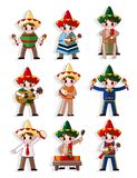 Cartoon Mexican music band icon set Royalty Free Stock Images