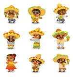 Cartoon Mexican people icon set Stock Photos