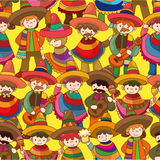 Cartoon Mexican people seamless pattern Stock Image