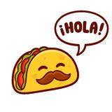 Cartoon Mexican Taco Character Stock Images