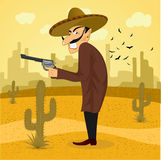 Cartoon mexican wearing a huge sombrero Stock Photo