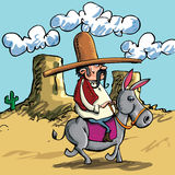 Cartoon Mexican wearing a sombrero riding a donkey Stock Photos